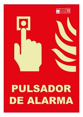 Foto de Señales de pulsador de alarma con texto