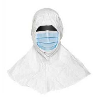 Foto de Capucha con máscara de protección limpio y estéril