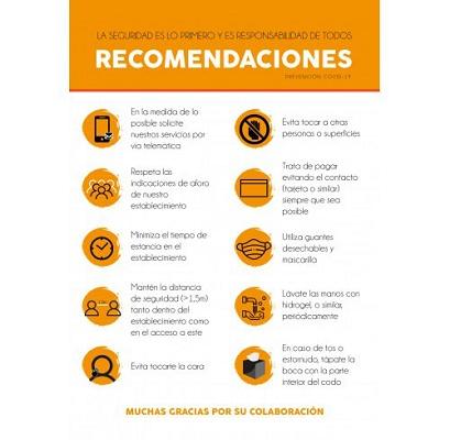 """Foto de Cartel papel pluma """"recomendaciones"""""""
