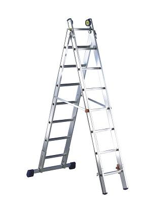 Foto de Escalera transformable profesional de aluminio de dos tramos