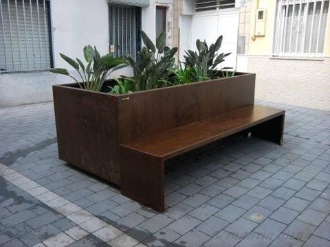 Banco jardinera en acero corten mart n mena for Jardineras acero corten