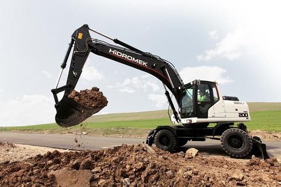 Foto de Excavadora sobre ruedas