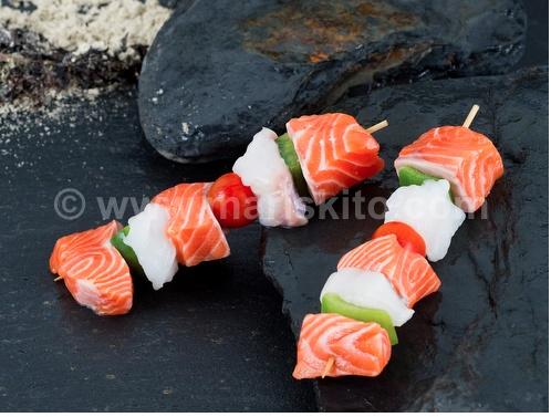 Foto de Brocheta de rape y salmón
