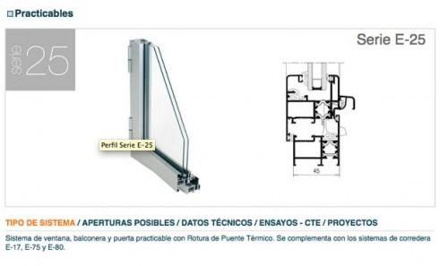 Perfiles de aluminio para puertas y ventanas extrual e 25 for Ventanas de aluminio catalogo y precios